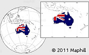 Flag Location Map of Australia, blank outside