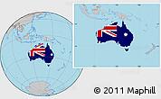 Flag Location Map of Australia, gray outside