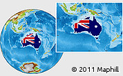 Flag Location Map of Australia, physical outside