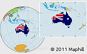 Flag Location Map of Australia, political outside