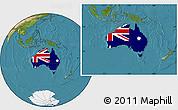 Flag Location Map of Australia, satellite outside