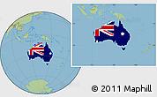Flag Location Map of Australia, savanna style outside