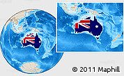 Flag Location Map of Australia, shaded relief outside