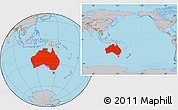 Gray Location Map of Australia, within the entire continent