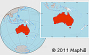 Gray Location Map of Australia, highlighted continent