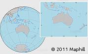 Gray Location Map of Australia, hill shading inside