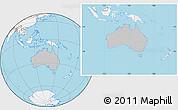 Gray Location Map of Australia, lighten, land only