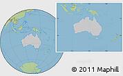 Gray Location Map of Australia, savanna style outside