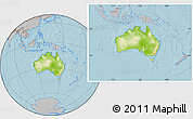 Physical Location Map of Australia, gray outside, hill shading