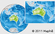 Physical Location Map of Australia, lighten, desaturated, land only