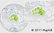 Physical Location Map of Australia, lighten, desaturated