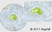 Physical Location Map of Australia, lighten, semi-desaturated