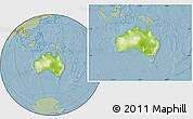 Physical Location Map of Australia, savanna style outside, hill shading