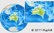 Physical Location Map of Australia, shaded relief outside