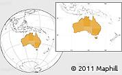 Political Location Map of Australia, blank outside