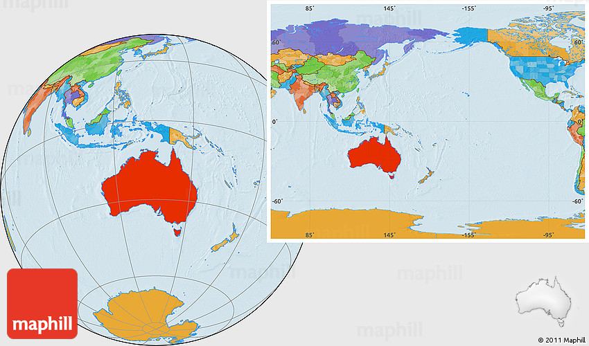 Australia Location Map.Political Location Map Of Australia Within The Entire Continent