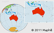 Political Location Map of Australia, highlighted continent
