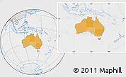 Political Location Map of Australia, lighten, desaturated
