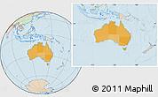 Political Location Map of Australia, lighten, land only