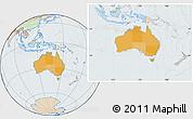 Political Location Map of Australia, lighten