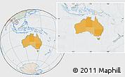 Political Location Map of Australia, lighten, semi-desaturated