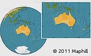 Political Location Map of Australia, satellite outside