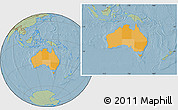 Political Location Map of Australia, savanna style outside, hill shading