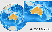Political Location Map of Australia, shaded relief outside