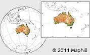 Satellite Location Map of Australia, blank outside