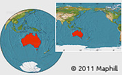 Satellite Location Map of Australia, within the entire continent