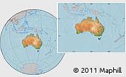 Satellite Location Map of Australia, gray outside, hill shading