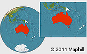 Satellite Location Map of Australia, highlighted continent
