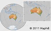 Satellite Location Map of Australia, lighten, desaturated