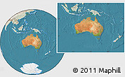 Satellite Location Map of Australia, lighten, land only