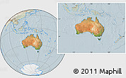 Satellite Location Map of Australia, lighten