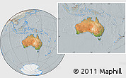Satellite Location Map of Australia, lighten, semi-desaturated