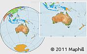 Satellite Location Map of Australia, political outside