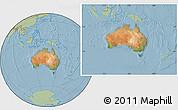 Satellite Location Map of Australia, savanna style outside, hill shading