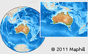 Satellite Location Map of Australia, shaded relief outside