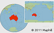Savanna Style Location Map of Australia, within the entire continent