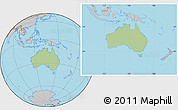 Savanna Style Location Map of Australia, gray outside