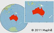 Savanna Style Location Map of Australia, highlighted continent