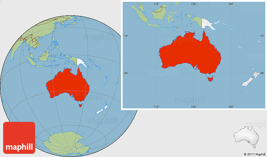 Savanna Style Location Map of Australia highlighted continent – Map of Australia in the World