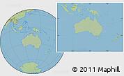 Savanna Style Location Map of Australia, hill shading inside