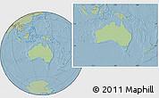 Savanna Style Location Map of Australia, hill shading outside