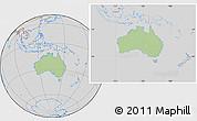Savanna Style Location Map of Australia, lighten, desaturated
