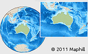 Savanna Style Location Map of Australia, shaded relief outside