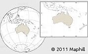 Shaded Relief Location Map of Australia, blank outside