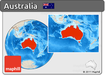 Shaded Relief Location Map of Australia
