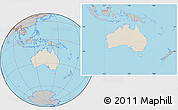 Shaded Relief Location Map of Australia, gray outside